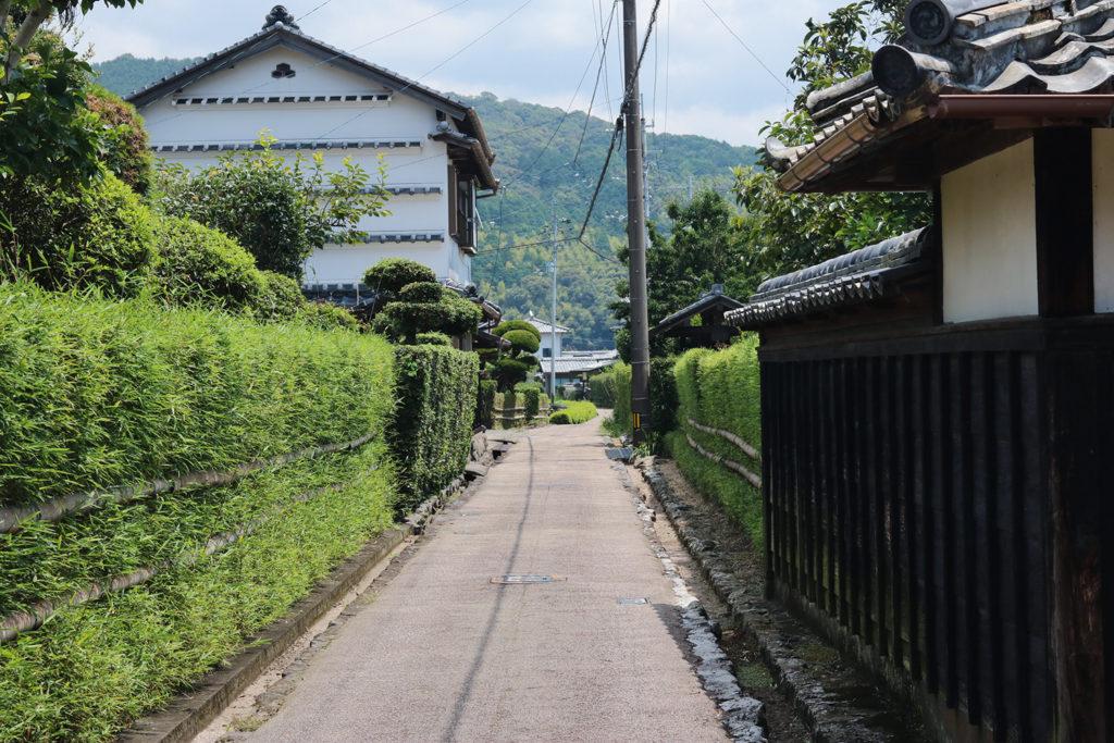 写真:笹の生垣の間の小道。白壁の蔵や木製の塀など、歴史を感じる街並み。